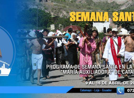 """Programa de Semana Santa en la parroquia """"María Auxiliadora"""" de Catamayo"""